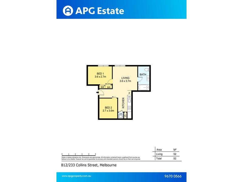 812/233 Collins Street, Melbourne, Vic 3000 - floorplan