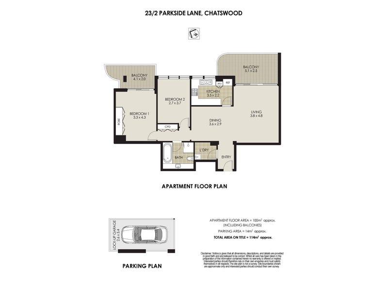 23/2 Parkside Lane, Chatswood, NSW 2067 - floorplan