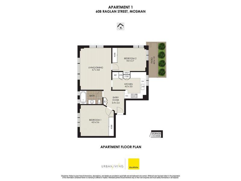 1/60B Raglan Street, Mosman, NSW 2088 - floorplan