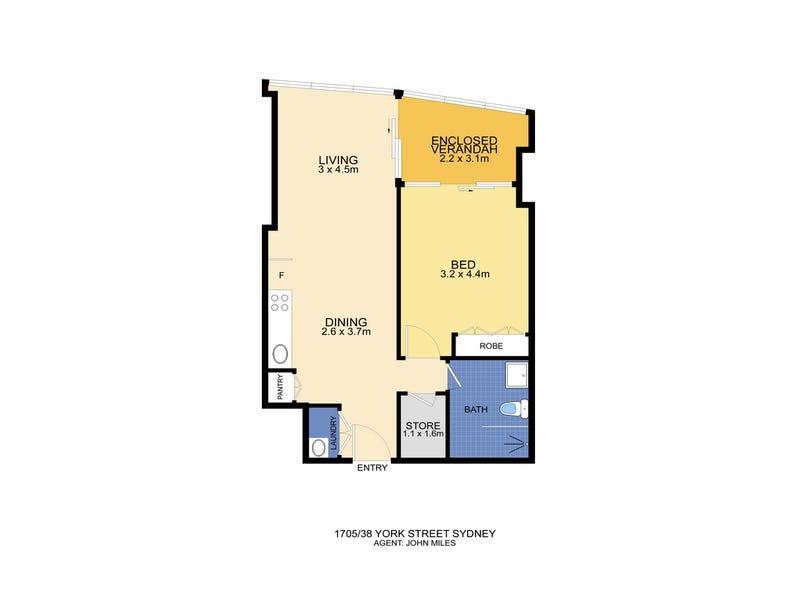 1705/38 York Street, Sydney, NSW 2000 - floorplan