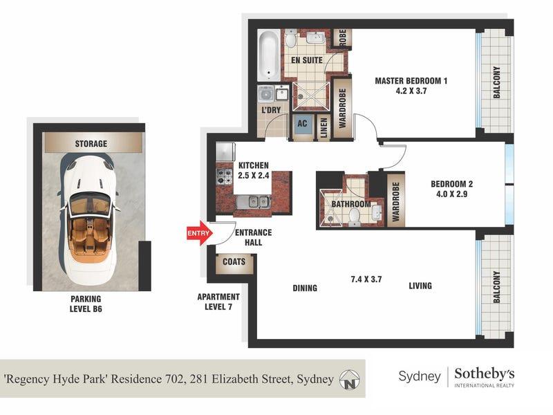 Residence 702/281 Elizabeth Street 'Regency Hyde Park', Sydney, NSW 2000 - floorplan