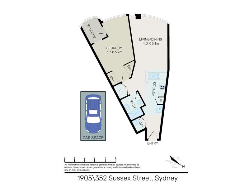 1905/348-354 Sussex St, Sydney, NSW 2000 - floorplan