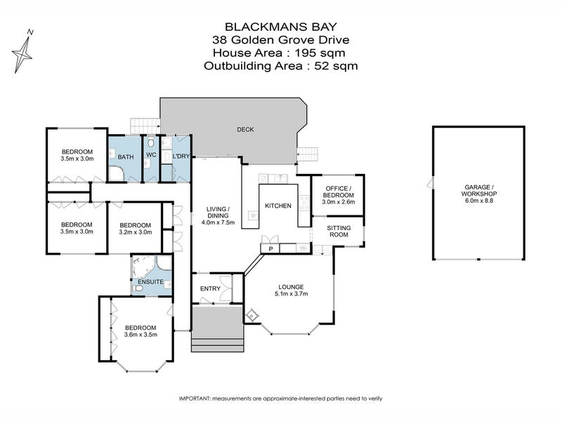 38 Golden Grove Drive, Blackmans Bay, Tas 7052 - floorplan