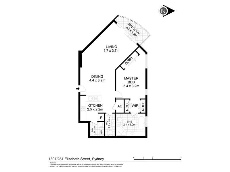 1307/281 Elizabeth Street, Sydney, NSW 2000 - floorplan