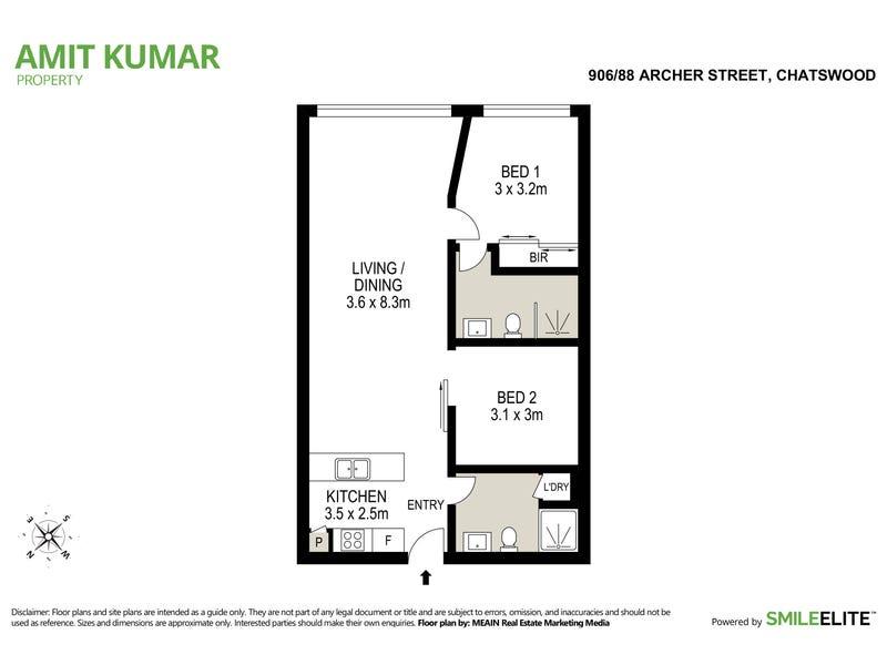 906/88 Archer Street, Chatswood, NSW 2067 - floorplan